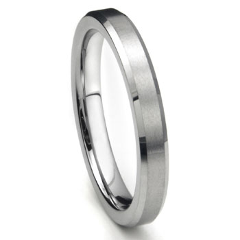Tungsten Carbide 4MM Beveled Brush Finish Wedding Band Ring