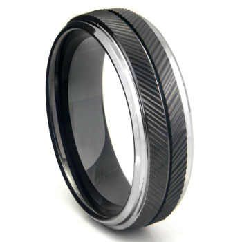 Black Tungsten Carbide Chevron Wedding Band Ring