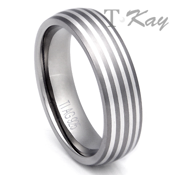 Titanium 4 Stripe Silver Inlay Wedding Dome Ring