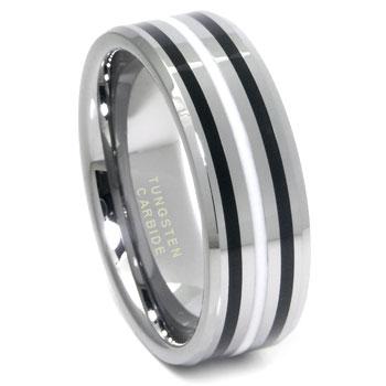 tungsten carbide black white resin wedding band ring