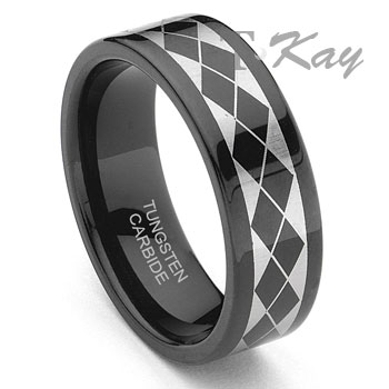 Black Tungsten Carbide Laser Engraved Band Ring