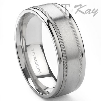 BEORN Titanium 8mm Milgrain Wedding Band Ring,REGENT