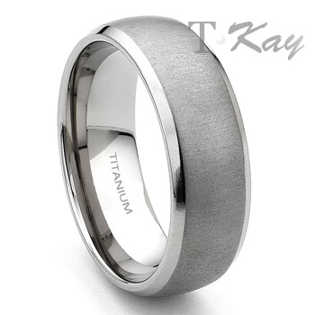 titanium 7mm brushed mens wedding band ring - Titanium Wedding Rings For Men
