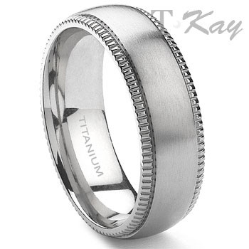 ANSGAR Titanium 8mm Milgrain Wedding Band Ring