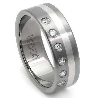 Titanium Silver Inlay Diamond Wedding Ring