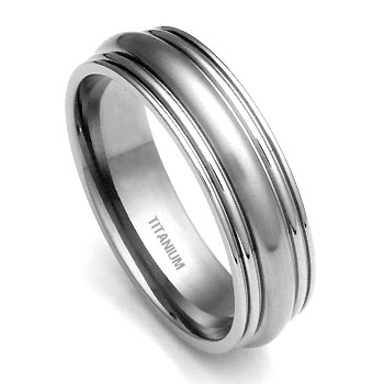 Titanium 7mm Ribbed Men 39s Wedding Ring