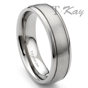 Titanium 7mm Grooved Wedding Band Ring :  man design wedding designer