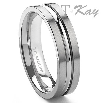titanium 6mm ribbed mens ring - Man Wedding Ring