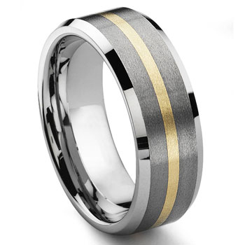 ODYSSEY 8MM Satin Finish Tungsten 14K Gold Inlay Wedding Band