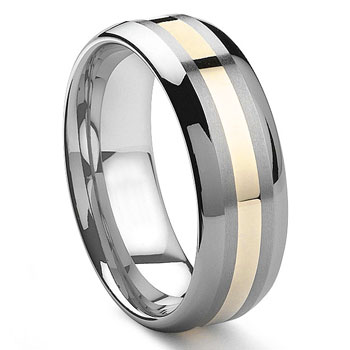 FILOE 8MM Tungsten Carbide 14K Gold Inlay Wedding Band