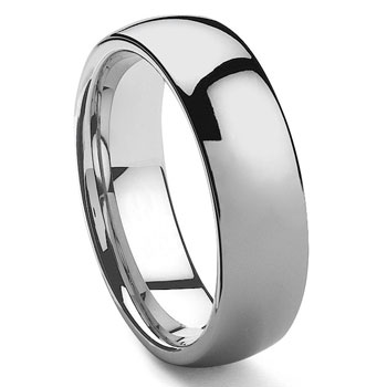 HAMON Tungsten Men's Plain Dome Wedding Band