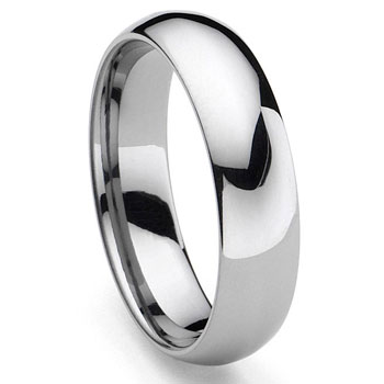 Tungsten Carbide 5MM Plain Dome Wedding Band