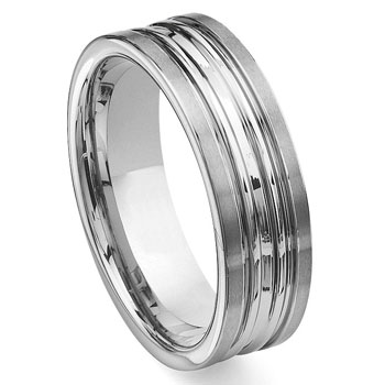 Tungsten Carbide Double Ribbed Wedding Band Ring