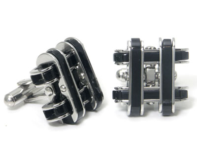 Stainless Steel Black Resin Cufflinks