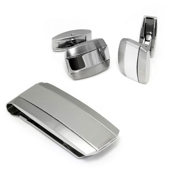 Colibri ROGUE Stainless Steel Silver Money Clip Cufflinks Gift Set