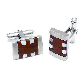 COLIBRI Stainless Steel Mother of Pearl & Wood Cufflinks :  pearl mother amp wood