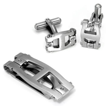 Colibri PRIME Stainless Steel Diamond Money Clip Cufflinks Gift Set