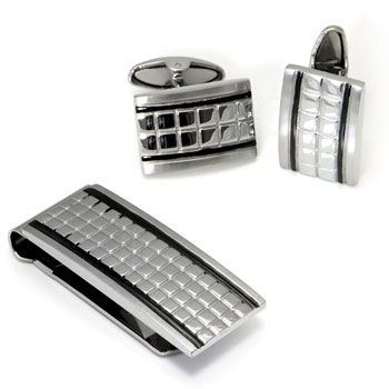 Colibri GRUVE Stainless Steel Money Clip Cufflinks Gift Set