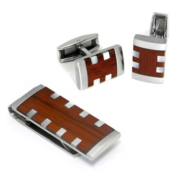 Colibri HAVANA Stainless Steel Money Clip Cufflinks Gift Set