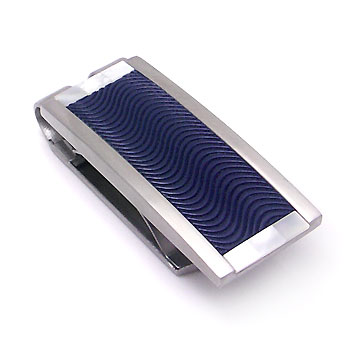COLIBRI Stainless Steel Arctic Bluewood Mother of Pearl Money Clip