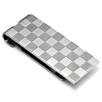 Stainless Steel Checkered Money Clip