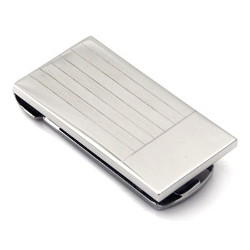 Stainless Steel Engravable Money Clip w/ Stripes