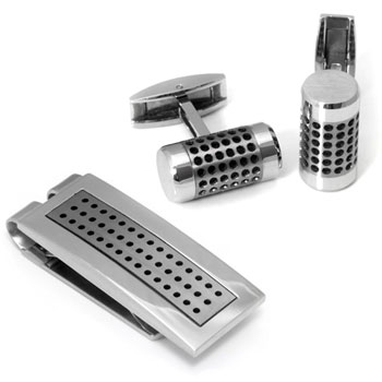 Colibri ABYSS Stainless Steel Titanium Money Clip Cufflinks Gift Set