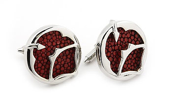 Sterling Silver Red Organic Stingray Leather Round Cufflinks