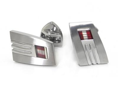 LAMBORGHINI Red White Red Titanium Steel Cufflinks
