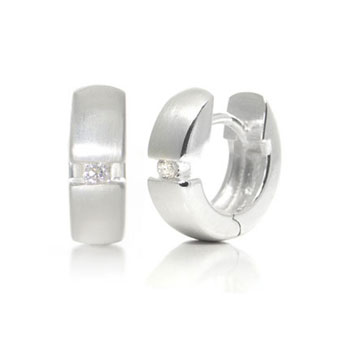 Bastian Inverun Sterling Silver Tension Set Diamond Huggie Earrings