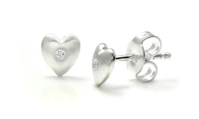 Bastian Inverun Sterling Silver Heart Diamond Stud Earrings (Small)