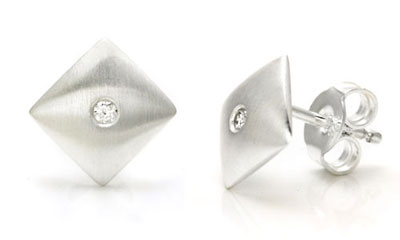 Bastian Inverun Sterling Silver Diamond Dome Stud Earrings