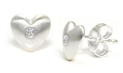 Bastian Inverun Sterling Silver Heart Diamond Stud Earrings