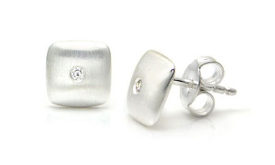 Bastian Inverun Sterling Silver Square Diamond Dome Stud Earrings