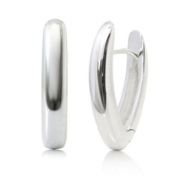 Bastian Inverun Sterling Silver High Polish Tall Huggie Earrings (L)