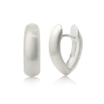 Bastian Inverun Sterling Silver Satin Tall Huggie Earrings (S)