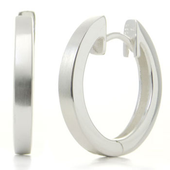 Bastian Inverun Sterling Silver Satin Finish Huggie Earrings (L)