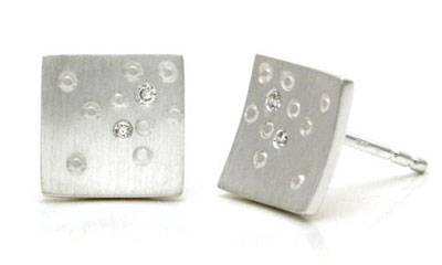 Bastian Inverun Sterling Silver Square Scattered Diamond Earrings