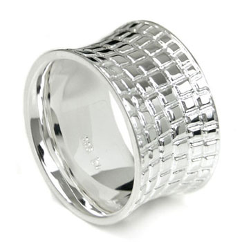 Bastian Inverun Sterling Silver Leather Finish Ring
