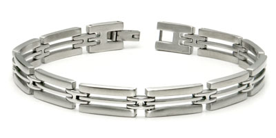 Stainless Steel Two Tone Triple-Link Bracelet