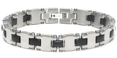 Stainless Steel Black Resin Men's Bracelet