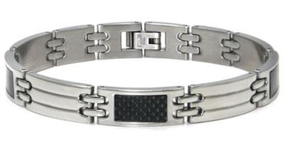 Stainless Steel Carbon Fiber Men's Bracelet
