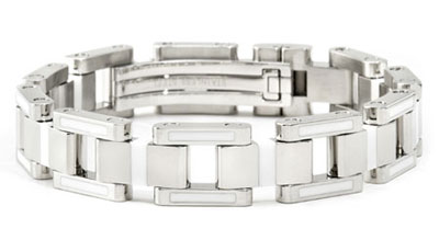 BERCHET Stainless Steel White Enamel Bracelet