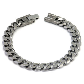 Italian Cut Men's Titanium 10MM Curb Link Bracelet