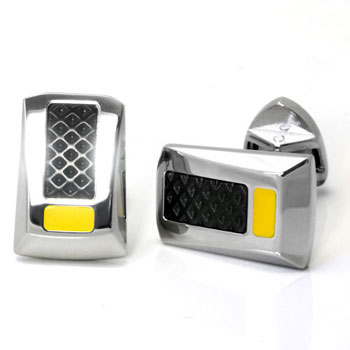 LAMBORGHINI Stainless Steel Cufflinks w/ Yellow Lacquer
