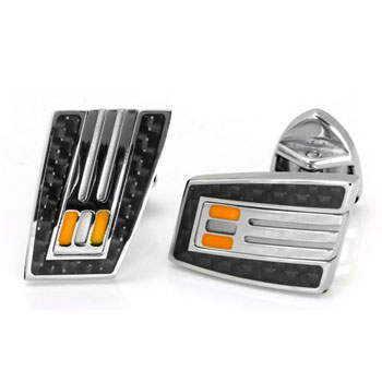 LAMBORGHINI Stainless Steel Carbon Fiber Cufflinks w/ Orange Crystals