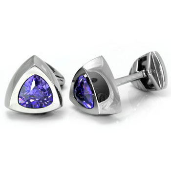 LAMBORGHINI Stainless Steel Cufflinks w/ Purple Crystals