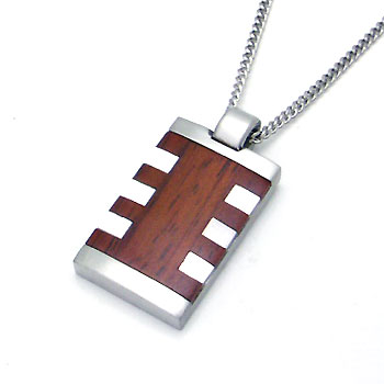 COLIBRI Stainless Steel Mother of Pearl & Wood Pendant w/ Chain :  pendant of amp chain