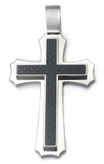 Titanium Carbon Fiber Cross Pendant
