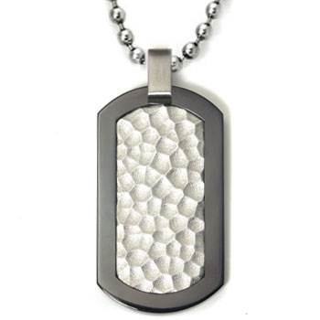 Black Titanium Hammered Dog Tag Pendant w/ Bead Chain